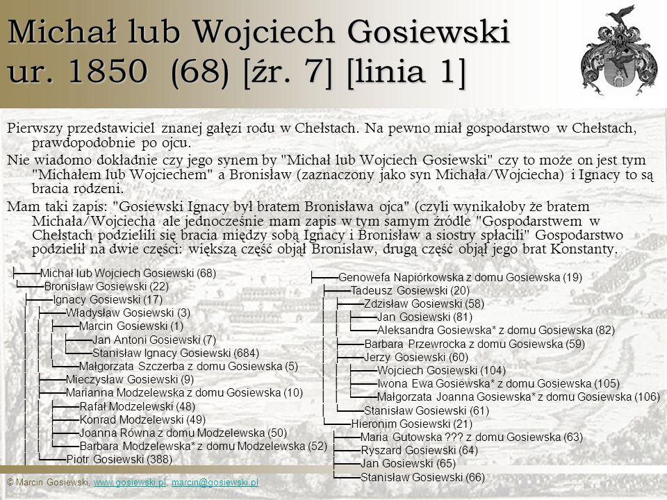 Michał lub Wojciech Gosiewski ur. 1850 (68) [źr. 7] [linia 1]